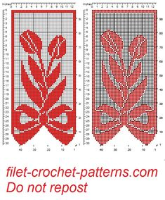 Curtain with bow and tulips filet patten