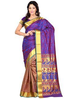 Buy indian wedding sarees. Shop this distinctively art silk traditional  saree.