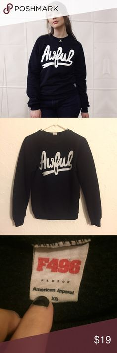 """American Apparel Crew Reads """"Awful"""" this is used but in good shape, the inside is fleece and very soft and warm. American Apparel Sweaters Crew & Scoop Necks"""