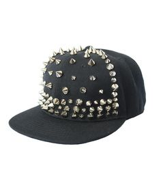 Black Canvas Punk Style Cap with Silver Spike Embellishment