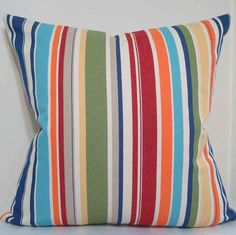 Pillow Cover in multi colored awning stripes for 18 x 18 pillow with zipper closure. $18.00, via Etsy.