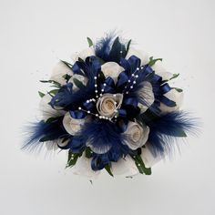 Possibly For Bridesmaids With Silk Flowers Navy Wedding Flowerswedding Bouquet Blueflowers