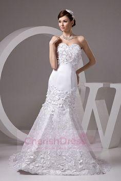 Gorgeous Sweetheart Petal Appliqued Charming Sheath Lace Beading Wedding Dress - Wedding Dresses - WEDDING APPAREL