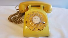 1970's Yellow Mustard Western Bell 500DM Rotary Desktop Telephone Phone #WesternBell
