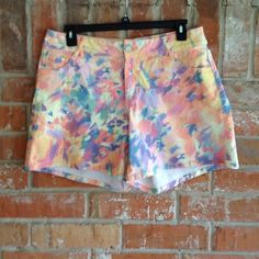"""Cute Tie Dyed Shorts by Lane Bryant Plus These cute shorts are NWOT. Never worn. They measure 18"""" side to side at top of waist and inseam is 7"""" The rise is 10 1/2"""" Lane Bryant Shorts Jean Shorts"""