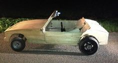 bram wil rijden in zelfgebouwde houten cabrio