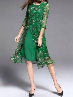 Silk H-line Simple Half Sleeve Midi Dress