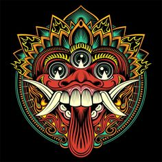 Millions of Free Graphic Resources. Hannya Maske, Barong Bali, Dibujos Zentangle Art, Mask Drawing, Outline Illustration, Indonesian Art, Vector Art, Vector File, Eps Vector