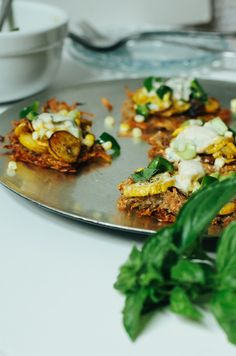 Potato Fritters with Roasted Zucchini, Cucumber Corn Salad & Cumin Dill Yogurt Sauce by Food Loves Writing Beignets, Potato Fritters, Roasted Squash, Yogurt Sauce, Corn Salads, Savory Snacks, Cucumber Salad, Food For Thought, Zucchini