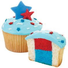 Spark excitement at your 4th of July party with these lively cupcakes. They're red, white and blue all the way through, thanks to the Wilton Two-Tone Cupcake Pan Set, which separates batter colors for a sensational effect.