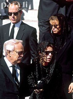 Princess Caroline at the funeral of her husband Stefano Casiraghi, accompanied by her father Prince Rainier, sister Stephanie and brother Albert.