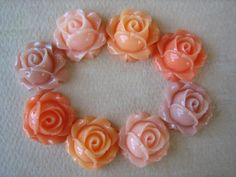 8PCS - Cabbage Rose Flower Cabochons - 15mm