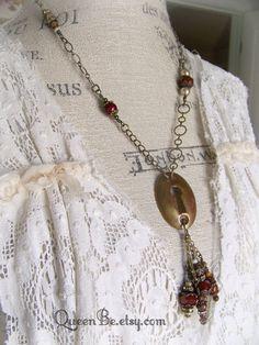 Beaded Gypsy Necklace Antique Escutcheon Necklace  by QueenBe