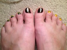 Go Pack Go! Green with gold accent and gold with green accent with a football big toe to complete the football team support ;)