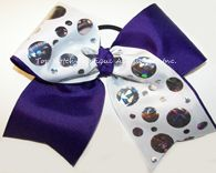 Items similar to Purple Cheer Bow, Purple White Tic Toc Bow, Sparkly Purple White Silver Foil Cheer Bow, Glittery Purple Dance Bow, Purple Cheerleader Bows on Etsy Big Cheer Bows, Cheer Hair Bows, Cheerleading Bows, Girl Hair Bows, Baptism Headband, Newborn Headbands, Competition Bows, Dance Bows, 1st Birthday Hats