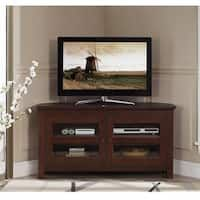 44-inch Brown Wood Corner TV Stand