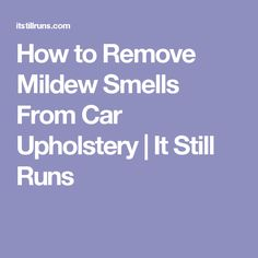 How to Remove Mildew Smells From Car Upholstery Mildew Stains, Mildew Remover, Mold And Mildew, House Cleaning Tips, Car Cleaning, Cleaning Hacks, Car Upholstery, Clean House, Remove Mold