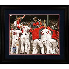 Boston Red Sox 2013 World Series Champs Celebration 8x10 Framed Photo w Nameplate (11x14 Cherry 220-WM)  - Commemorate the Red Sox 8th World Series title with this beautifully framed photograph of the team celebrating their Game 6 victory over the Cardinals. David Ortiz batted a ridiculous .688 in the series and earned MVP honors. Although the Red Sox reversed the curse in 04 and won again in 07 this victory marked the first time the Sox clinched at home in Fenway Park in 95 years. This…