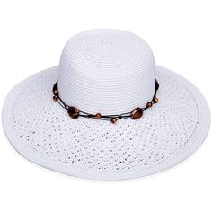 Sun 'N' Sand White Crochet Bead Accent Sunhat ($13) ❤ liked on Polyvore featuring accessories and hats