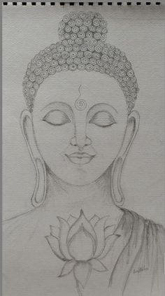 3d Art Drawing, Art Drawings Sketches Simple, Pencil Art Drawings, Buddha Artwork, Buddha Painting, Buddha Drawing, Buddha Canvas, Mandala Art Lesson, Canvas Painting Tutorials