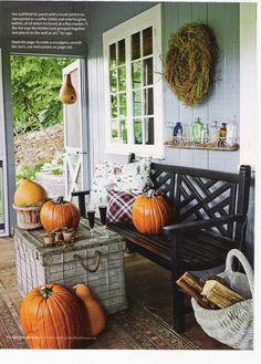black glossy bench... and pumpkin fun!