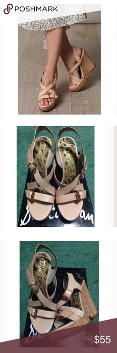 SAM EDELMAN Cork Wedge Stunning, natural color strappy cork wedge sandals with limited, if any, signs of wear. A beautiful & comfortable shoe. NO TRADES. Sam Edelman Shoes Wedges