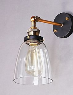 Industrial+Edison+Simplicity+Glass+Wall+Sconce+Metal+Base+Cap+Dining+Room+/+Study+Room/Office+/+Hallway+Wall+Mount+Light+–+AUD+$+88.79