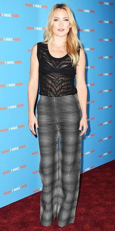 Kate Hudson stepped out in a sheer printed tank and black-and-white printed wide-leg trousers, both by Emanuel Ungaro, to the UK screening of Wish I Was Here.