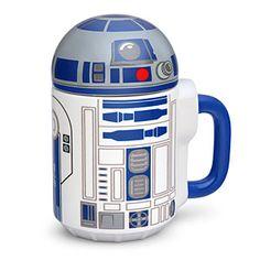 Star Wars R2-D2 20oz Lidded Mug   ThinkGeek >Keep your coffee or tea hot while you look at this perfect mug. #R2D2 #StarWars