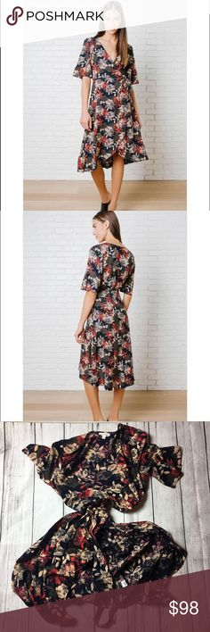 "The Dawson floral wrap front dress❤️ A sophisticated style for your wardrobe. This navy-hued frock is patterned w/a floral design in cream, red,brown hues, & has a V-cut neckline for a flirty hint of skin.Its flowy sleeves add a playful vibe, & it features an adjustable tie @ the waist for the perfect fit. It is finished w/a slightly asymmetrical hemline.100% Rayon Measurements 36"" bust 39"" from top of shoulder (to shortest point) 45"" from top of shoulder (to longest point) Model Stats…"