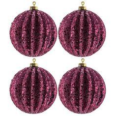 Burgundy Glitter-Covered Ridged Ball Ornaments