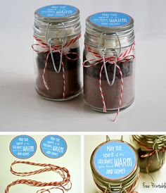 Hot Cocoa in a Jar with Free Printable | 40 DIY Gift Basket Ideas for Christmas | Handmade Gift Ideas for Christmas
