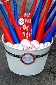 Party favor idea... could be dangerous for a bunch of 1-year olds :) also birthday idea- games to play for the adults. Kick ball at a park or soft ball, with teams.