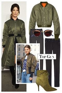 Prepare For Takeoff with an aviator-inspired bomber jacket. Give a fatigues-green nylon version extra lift by wearing it with cigarette pants and suede ankle booties. 3.1 Philip Lim jacket, $725, shopBAZAAR.com; Retrosuperfuture sunglasses, $329, 646-590-3929; AG jeans, $178, shopBAZAAR.com; Guess jeans, $128, guess.com; Aquazzura bootie, $895, 877-551-7257.   - HarpersBAZAAR.com
