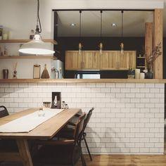 Atsuko/デザイナー/lifestyle/真鍮表札さんはInstagramを利用しています:「リビングからみたキッチン背面🏠 カフェのカウンターをイメージしたキッチン✨ カップボードの吊り戸棚は背の低いタイプにしました。 低いものにした理由は以下3つ📝 ・私がチビなので上まで手が届かないから上の収納を有効に使えない…」 Table, Kitchen Dining, Kitchen Room, Interior, Kitchen, Conference Room Table, Home Decor, Space Design, New Homes