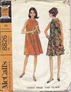 Swing Dress Pattern Vintage 1960s Flared Dress by LibertyKnits