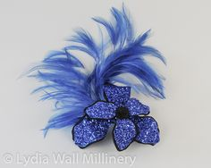 Royal Blue Glitter Flower Hair Clip with Feathers £35.00
