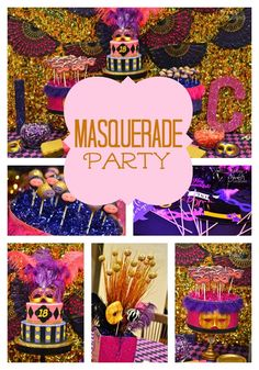 Amazing Mardi Gras party ideas on www. Masquerade Party Decorations, Masquerade Ball Party, Masquerade Theme, Birthday Party Decorations, Birthday Ideas, 13 Birthday, Costume Birthday Parties, Halloween Birthday, Arabian Party