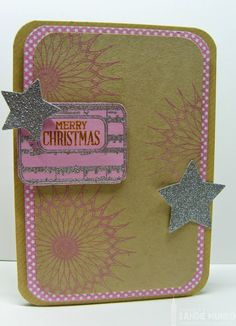 Fusion and Festive Friday inspired! Uniko doilies, msic, stars, pink and kraft Xmas Cards, Doilies, I Card, Festive, Merry Christmas, Friday, London, Inspired, Pattern