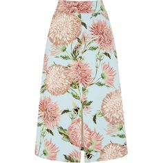 Warehouse Pom Pom Print Floral Skirt ($59) ❤ liked on Polyvore featuring skirts, bottoms, women, floral skirt, floral a line skirt, floral print skirt, patterned skirts and floral print a-line skirt