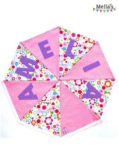 Personalised BUNTING made by me over at www.facebook.com/mellasmakings Personalised Bunting, Pink Purple, Playroom, Birthday Parties, Facebook, Party, Color, Anniversary Parties, Game Room Kids