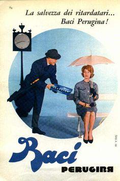 Vintage Italian Posters ~ #illustrator #Italian #posters ~ La salvezza dei ritardatari.....baci perugina!