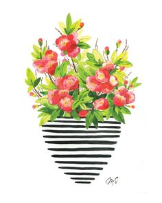 Modern Floral Illustration- Red Quince