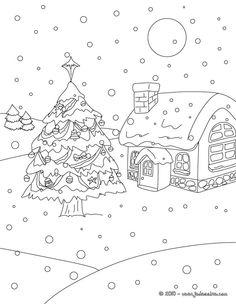 Coloriage de Sapins de Noël - Sapin de Noël sous la neige à colorier