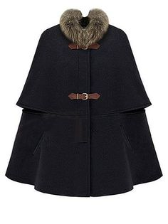 Elegant Women Outerwear Winter 2015 Casual Oversized New Branded Poncho Korean Star Stalker Big Hasps Black Faux Fur Collar Cape(China (Mainland)) Winter Wear, Autumn Winter Fashion, Winter Cape, Winter Cloak, Winter Style, Mode Mantel, Coats For Women, Clothes For Women, Black Cape