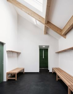 Reed Watts creates timber cricket pavilion in Richmond upon Thames. Larch Cladding, Sleeping Pods, Richmond Upon Thames, Architecture Today, Structural Insulated Panels, Boundary Walls, Red Tiles, Timber Structure, Minimal Home