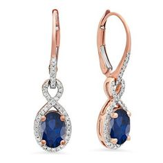 10K Rose Gold Oval Blue Sapphire & Round White Diamond Ladies Infinity Dangling Earrings