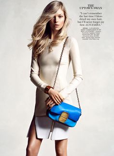 """Amanda in Altuzarra dress ($1,490), Marc Jacobs bag, Hermès bracelet, and Vite Fede ring for """"Who's That Girl?"""" in Flare July 2012. Photographed by Chris Nicholls, styled by Fiona Green."""