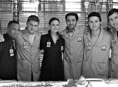 Clark Edison, Wendall Bray, Dr. Brennan, Aristoo, Finn, and Joel Fisher on Bones Season 7 love the interns!