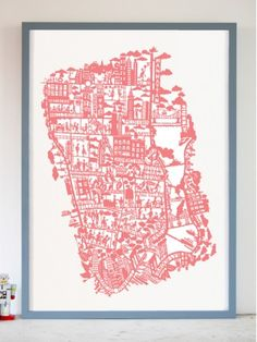 Show your patriotic spirit and love of new york with this red white and blue NYC Paper cut map by Famille Summerbelle Map Of New York, Simple Line Drawings, Show Me The Way, I Love Ny, Pink Dog, Vintage Maps, Pretty In Pink, Screen Printing, Globes